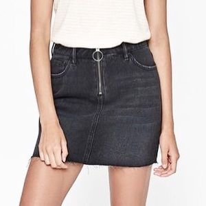 PacSun Zip Denim Skirt Frayed Hem